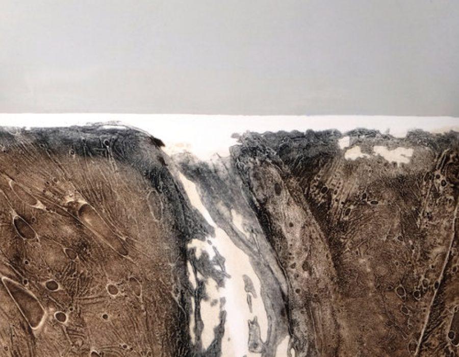 Elke Thönnes, Waterworn I, carborundum, plate and paper- 48 x 27cm. Unframed price- €180.00