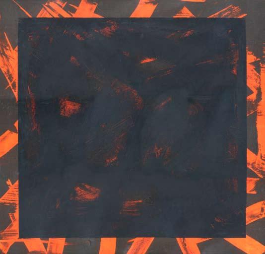 Graphic Studio Dublin: Michael Coleman, Untitled (Black Square on Orange)