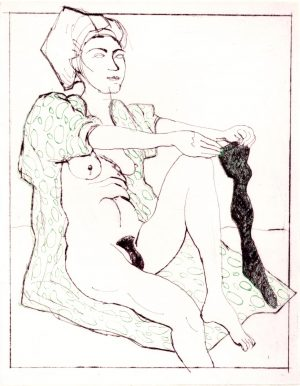 Graphic Studio Dublin • Brian Bourke: Graphic Studio Dublin: Domestic Intimacy, Black Stocking, Green Circle Robe