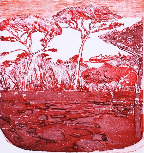Graphic Studio Dublin: Brian Bourke, Red Landscape