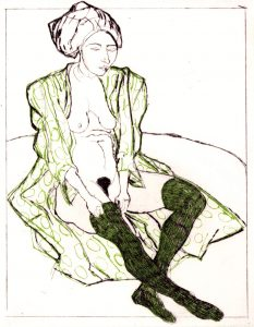 Domestic Intimacy, Green Stocking, Green Circle Robe