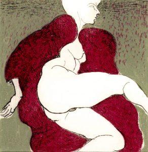 Domestic Intimacy, Red Robe, Khaki Background
