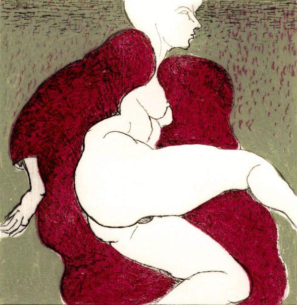 Graphic Studio Dublin: Domestic Intimacy, Red Robe, Khaki Background