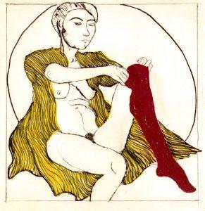 Domestic Intimacy, Red Stocking, Yellow Robe