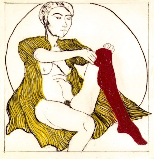 Graphic Studio Dublin: Brian Bourke, Domestic Intimacy, Red Stocking, Yellow Robe