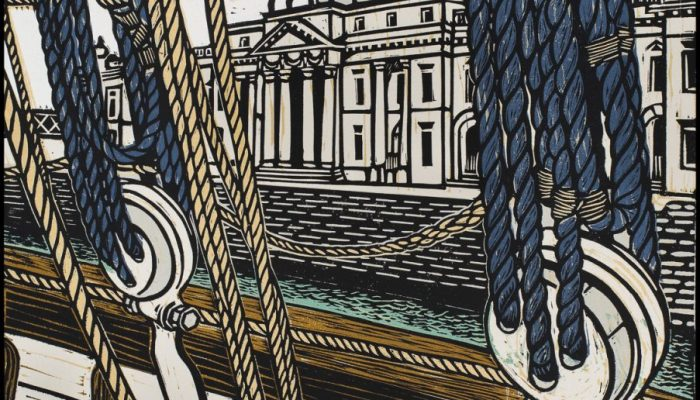Louise Leonard, Customs House, Dublin, 2013, Linocut, Image Size 34H x 25.5W cm, Paper Size 47H x 36W cm. Top Margin 4.7cm €280