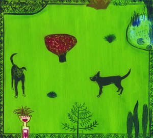 Graphic Studio Dublin • Carmel Benson: Graphic Studio Dublin: Dogs in a Garden