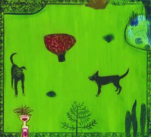 Graphic Studio Dublin: Carmel Benson, Dogs in a Garden
