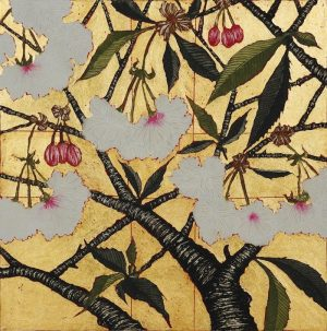 Graphic Studio Dublin • Jean Bardon: Graphic Studio Dublin: Cherry Blossom with gold leaf