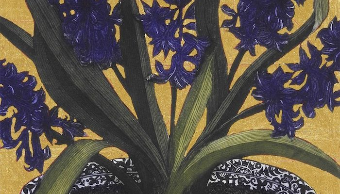 Jean Bardon, Dark Hyacinths with gold leaf