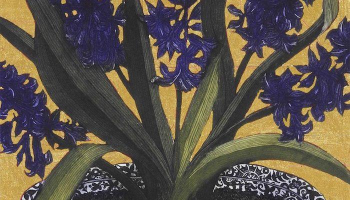 Jean Bardon, Dark Hyacinths with gold leaf