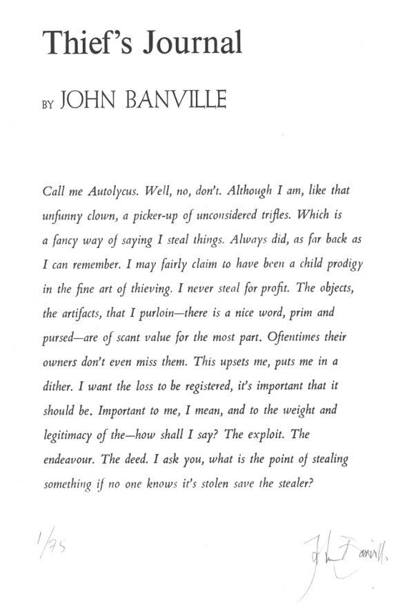 Graphic Studio Dublin: John Banville, Thiefs Journal