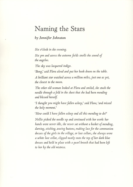 Graphic Studio Dublin: Jennifer Johnston: Naming the Stars
