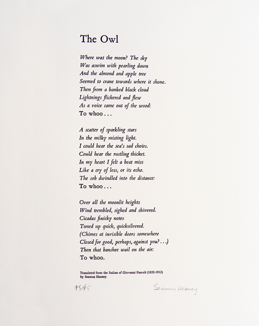 Graphic Studio Dublin: Seamus Heaney, The Owl, Translated from the Italian of Giovanni Pascoli