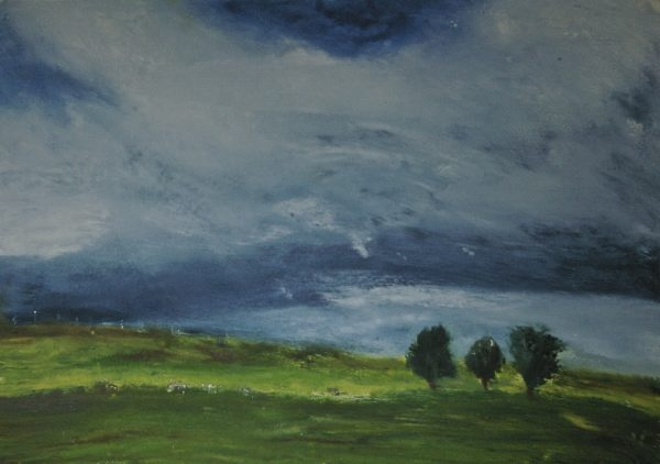 Between Showers, Curragh, monotype, 48.6 x 69.5 cm