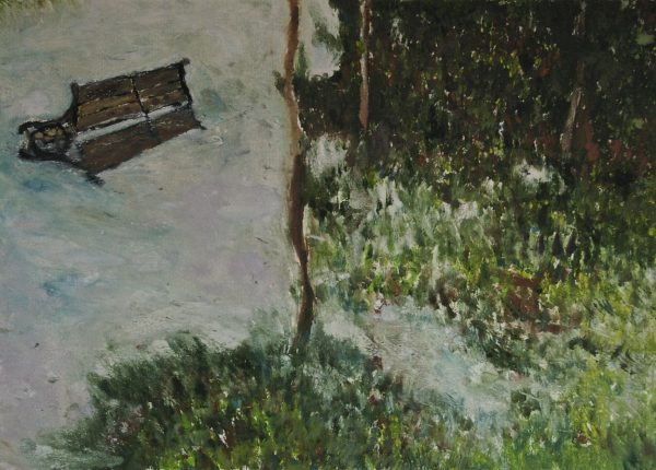 Flooded Bench, monotype, 49.7 x 69.1 cm