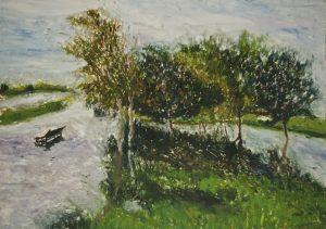 Daniel Lipstein, Flooded Park, monothpe, 49.5 x 69.6 cm