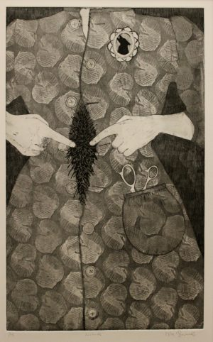 Graphic Studio Dublin •Niamh McGuinne: NiamhMcGuinne_Hirsute_2011_etching on paper_(50cmx30cm)_63.4x41.5cm_6.5cm_250euro (1)