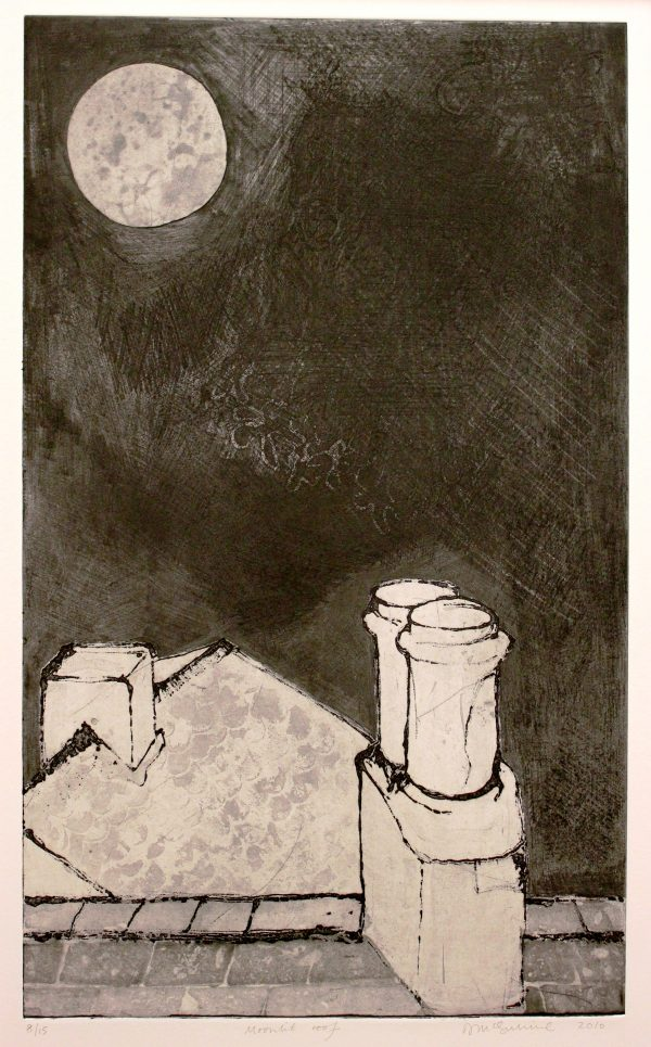 NiamhMcGuinne_Moonlit roof_2010_etching on paper_(50cmx30cm)_63.4x41.5cm_6.5cm_250euro
