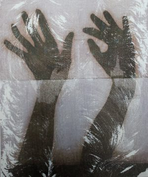 Graphic Studio Dublin • Niamh McGuinne: NiamhMcGuinne_Self Perspectives (Nancy's Hands)_2917_thermal transfer screen print on aluminium_.42cm x 35cm_250euroJPG (1)