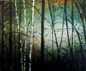 Graphic Studio Dublin • Stephen Lawlor: S.Lawlor Birches 2013 Etching (22x27cm) 50x43cm 9cm 370.00.JPG