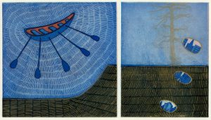 Graphic Studio Dublin •Vaida Varnagiene: Vaida Varnagiene_Boat and Tree_Intaglio etching_2018_image size 14.5x26 cm_paper size 29x37 cm_price 220 Euro