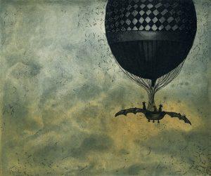 Graphic Studio Dublin •Vaida Varnagiene: Vaida Varnagiene_Flying to Timbuktu_2017_Intaglio etching_image 15x18 cm_paper 39.5x32.5 cm, price 170 Euro