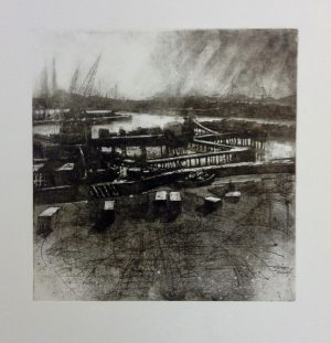 Graphic Studio Dublin • John Campion: Dublin Port 2017, etching 33.5cm x 33cm image size, p 66cm x 60cm, top margin 14cm, price €300