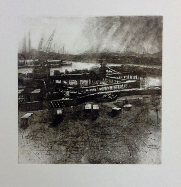 John Campion, Dublin Port 2017, etching 33.5cm x 33cm image size, p 66cm x 60cm, top margin 14cm, price €300