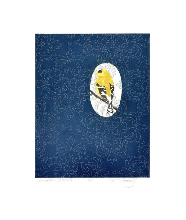 Merijean Morrissey, American Goldfinch, 2014, (34.5 cm x 27.5 cm) 52cm x 42cm, 8cm, price