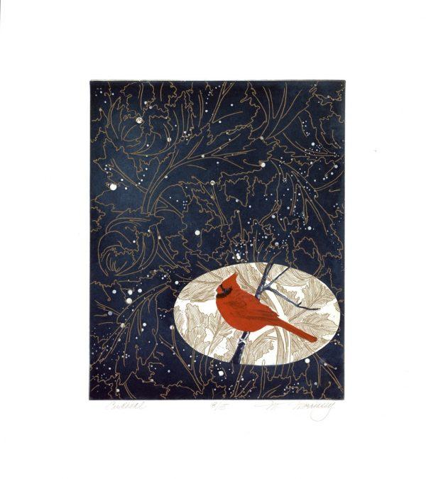 Merijean Morrissey, Cardinal, 2014, etching, (34.5cm x 27.5cm) 52cm x 42 cm, 8cm, price