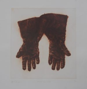Graphic Studio Dublin • John Campion: Collins's Gauntlets 1997, etching 45cm x 42cm, p 78cm x 71cm, top margin 14.5cm, price €300