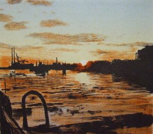 Graphic Studio Dublin • Michael Timmins: Docklands, Sunrise Edition of 30 Etching Image size: 18.5h x 21w cm Paper size: 37.5h x 39w cm €295 unframed
