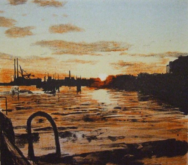 Docklands, Sunrise Edition of 30 Etching Image size: 18.5h x 21w cm Paper size: 37.5h x 39w cm €295 unframed