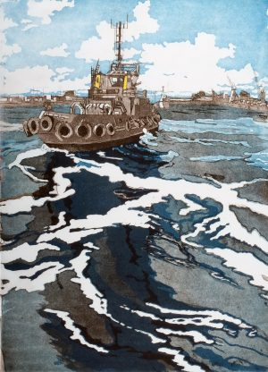 Graphic Studio Dublin • Adrienne Symes: 2. Adrienne Symes. Tug Turning to Work. Etching,Aquatint (1.08MB)