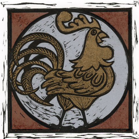 Louise Leonard, Golden Cockerel Linocut Image size 13.5 x 13.5 cms Paper size 30 H x 25 W cms