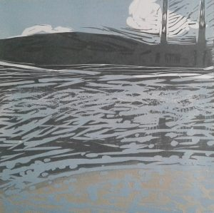 Graphic Studio Dublin • Marta Wakula-Mac: TITLE Sea IV MEDIUM linocut EDITION NUMBER 6/30 PAPER SIZE & PLATE SIZE 35x35cm, 15x15cm plate UNFRAMED GALLERY SELLING 160euro