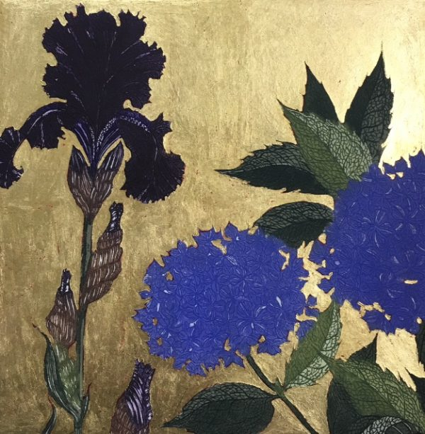 Jean Bardon, Dark Iris and Blue Hydrangea