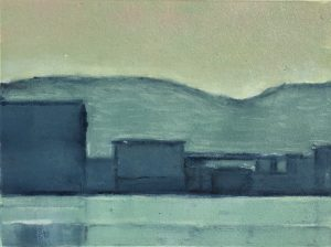 Graphic Studio Dublin • Julie Ann Haines: Poolbeg 2 (early evening) Monotype Plate 16.5 x 12 Paper 26.5cm x 23cm Framed €230 Unframed €195