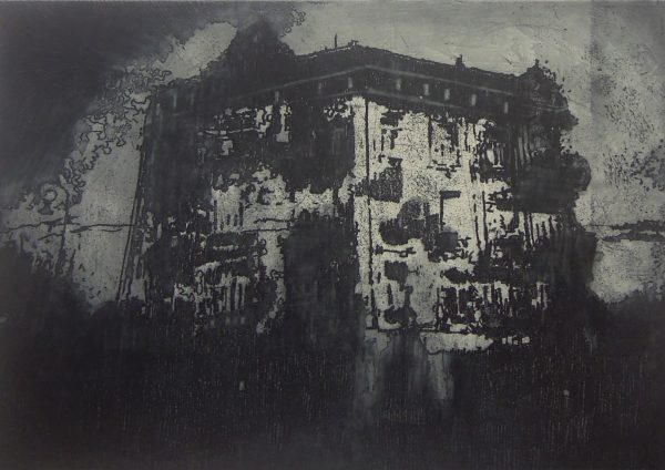 House on the Hill, Intaglio etching, plate size 16 x 23 cm, paper size 28 x 31 cm, gallery price 110 Euro, frame 35 Euro