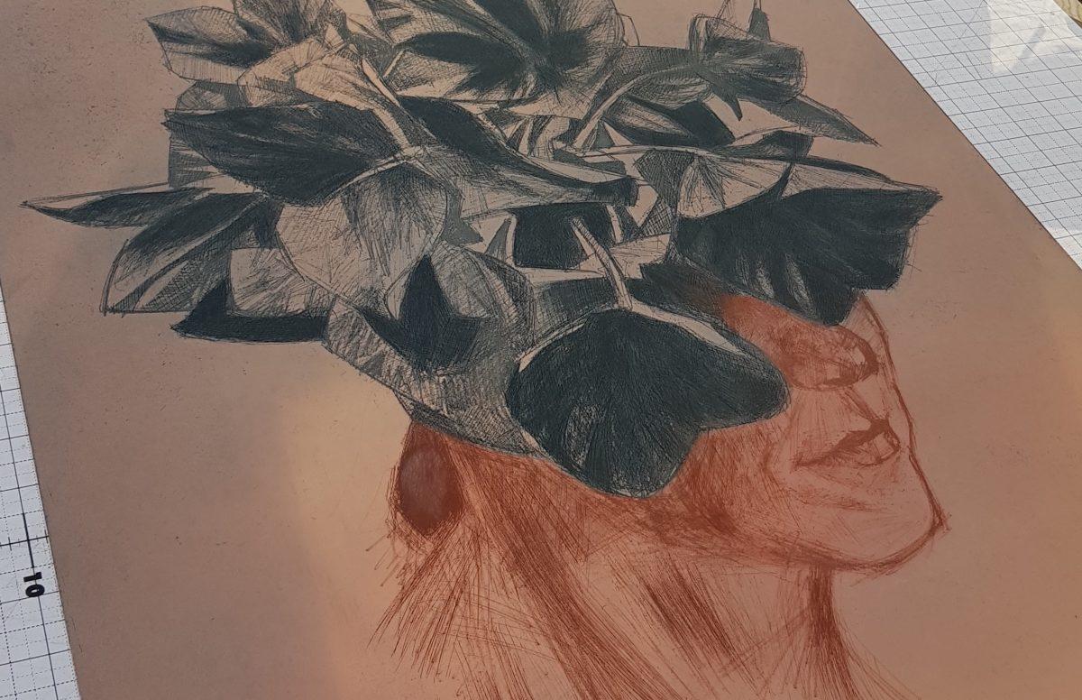 Kieran Crowley's inked up copper plate.