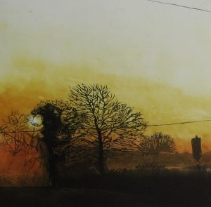 Graphic Studio Dublin • Geraldine O'Reilly: Golden Sunrise over Oxley's field, Geraldine O'Reilly