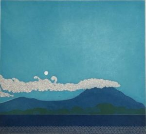 Morning moonrise over Slieve Foy, Yoko Akino