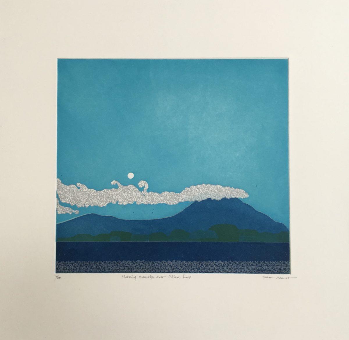 Morning moonrise over Slieve Foys, Yoko Akino