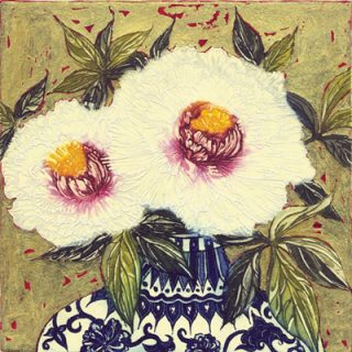 Paeonies with Gold Leaf, Jean Bardon