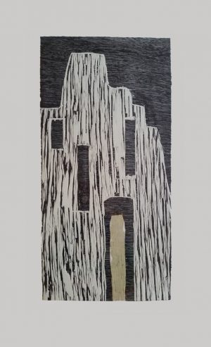 Graphic Studio Dublin • Aisling Dolan: Aisling Dolan_Grainne Mhaols Castle_Woodblock & Chine colle