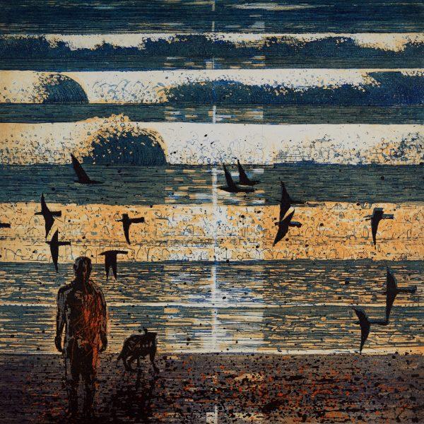 Artist-Observing-sunrise-, Etching Aquatint on Zerkall 350g, 33x33cm