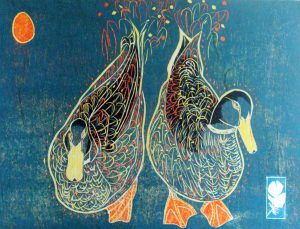 Graphic Studio Dublin •Jenny Lane: Estuary Duck, 31x46, 23.5x30.5