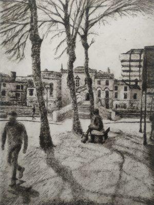 Graphic Studio Dublin •Daniel Lipstein: Happeny Bridge, View from 'The Grand Social', Spring 13