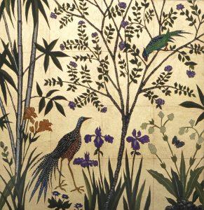 Long tailed bird, Irises and Purple Emperor